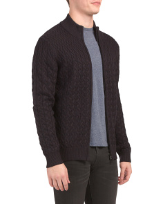 Merino Wool Cable Full Zip Mock Sweater