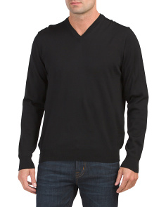 Made In Italy Merino Wool V Neck Sweater