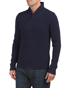 Plaited Popover Shawl Collar Sweater