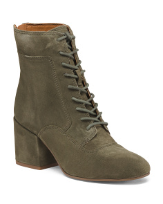Suede Lace Up Block Heel Boots