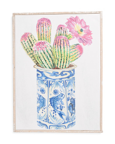 Ginger Jar Potted Cactus Canvas Wall Art