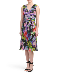 Floral Chiffon Faux Wrap Dress
