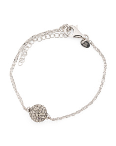 Made In Italy Sterling Silver Crystal Ball Bracelet
