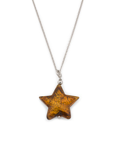 Made In Italy Sterling Silver Murano Glass Star Necklace