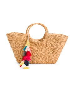 Large Structured Straw Tote