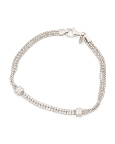 Made In Italy Sterling Silver CZ Multi Row Bracelet