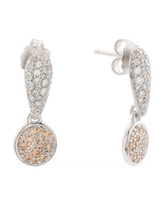 Made In Italy Sterling Silver Pave Cubic Zirconia Drop Earrings