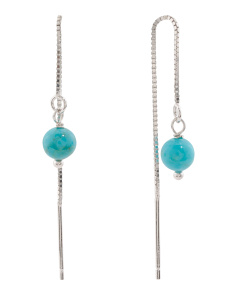 Made In Italy Sterling Silver Turquoise Threader Earrings