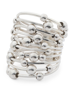 Made In Mexico Sterling Silver Moving Beads Coiled Ring