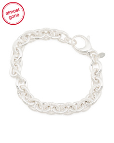 Made In Italy 950 Sterling Silver Rolo Link Bracelet