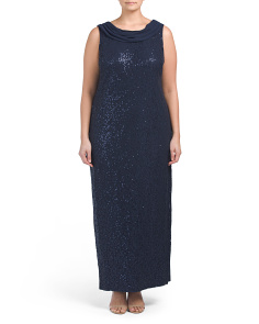 Plus Sleeveless Sequin Gown