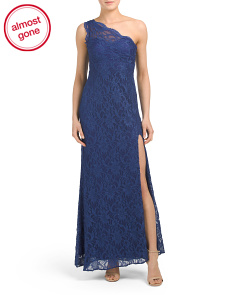Petite One Shoulder Lace Gown