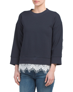 Juniors Lace Trim Top