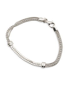 Made In Italy Sterling Silver Cubic Zirconia Multi Row Bracelet