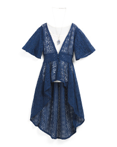 Big Girls 2pc Lace Duster With Necklace