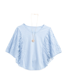 Big Girls Lace Sleeve Circle Top