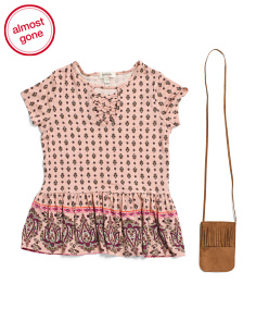Big Girls Lace Up Border Print Top