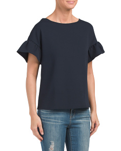 Made In USA Flutter Sleeve Crepe Top