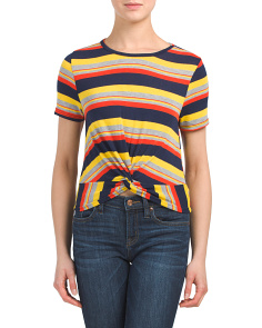 Juniors Retro Stripe Cropped Top