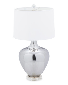 27in Glass Table Lamp With Crystal Base