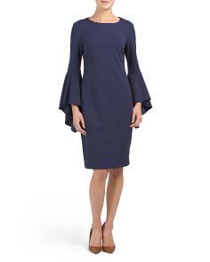 Crepe Bell Sleeve Dress