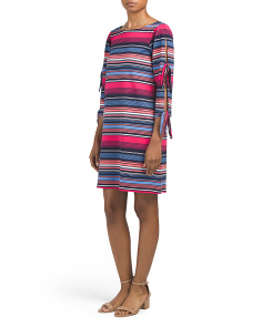Stripe Three-quarter Tie Sleeve Dress