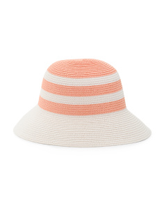 Color Block Straw Bucket Hat
