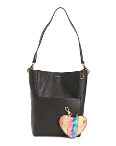 Leather Rfid Hobo With Heart Zip Pouch