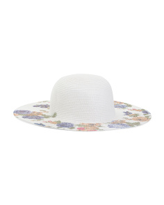 Floppy Straw Hat With Floral Printing