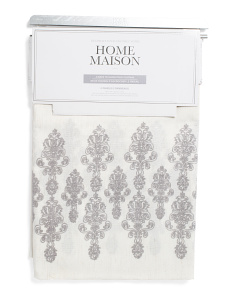 Set Of 2 38x84 Embroidered Faux Linen Curtains
