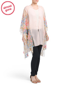 Embroidered Sheer Border Kimono