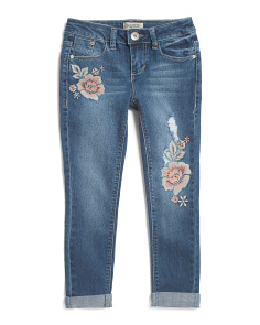 Big Girls Floral Embroidered Destructed Jeans