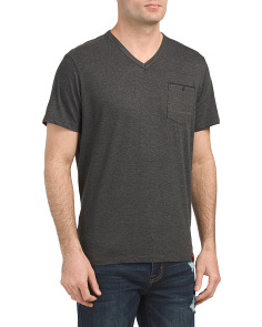 Short Sleeve Heather V-neck Tee
