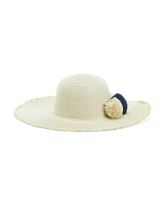 Floppy Hat With Paper Pom Poms