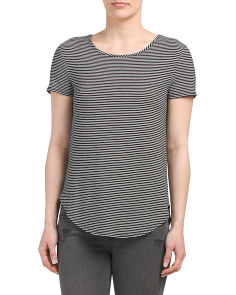 Short Sleeve Crew Neck Striped Top