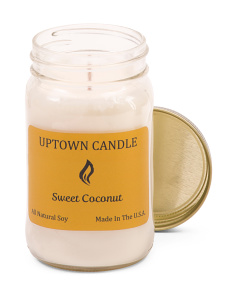 Made In USA 16oz Sweet Coconut Soy Candle