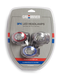 3pk 10 Lumen LED Head Lamps