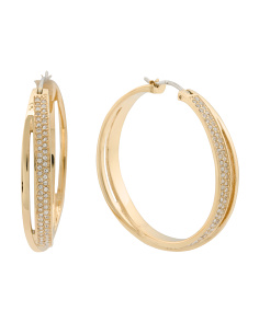 Orbital Crystal Hoop Earrings In Gold Tone