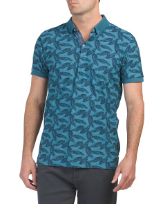 Short Sleeve Fern Print Polo