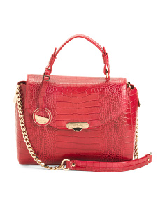 Made In Italy Croco Embossed Leather Satchel