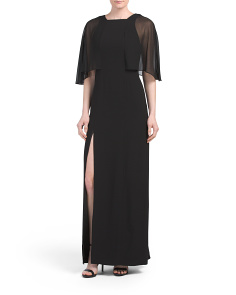Sheer Sleeve Gown With Slit