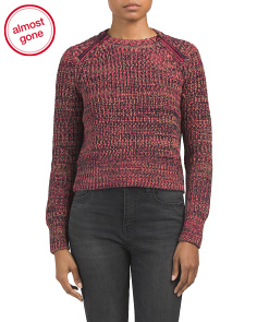 Tweed Cropped Sweater With Zippers