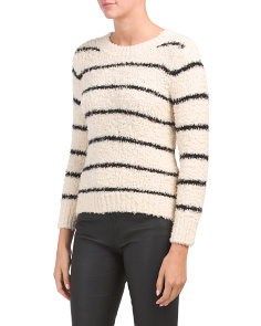 Fuzzy Striped Crew Neck Sweater