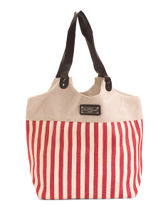 Ships Harbor Fabric And Straw Tote