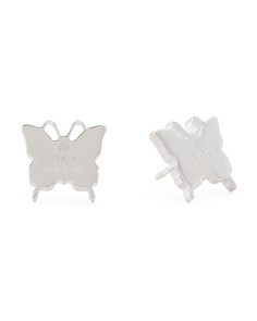 Made In Italy Sterling Silver Trademark Butterfly Earrings