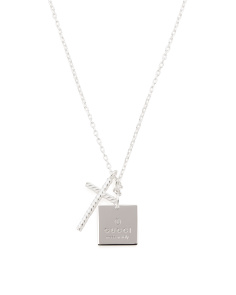 Made In Italy Sterling Silver Trademark Square & Cross Necklace