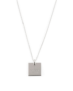 Made In Italy Sterling Silver Trademark Square Necklace