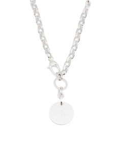 Made In Italy Sterling Silver Trademark Drop Necklace