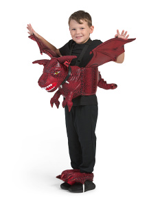 Kids Step In Dragon Costume With Feet
