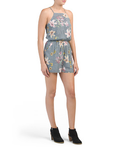 Juniors Check Floral Square Neck Romper